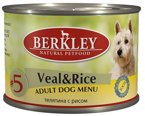 Влажный корм на zoomaugli.ru Berkley #5 Veal & Rice Adult Dog Menu Телятина с рисом для собак 200 г